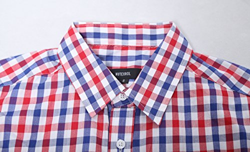 NUTEXROL Men Plaid Cotton Casual Slim Fit Long Sleeve Button Down Dress Shirts (Large, Red(New))