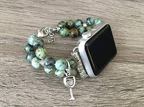 (African Turquoise Stones Bracelet For Apple Watch All Series 38mm 40mm 42mm 44mm Handmade Natural Jasper Beads Apple iWatch Band Silver Wine Glass Jewelry Charm Fashion Bangle Apple Watch Bracelet)