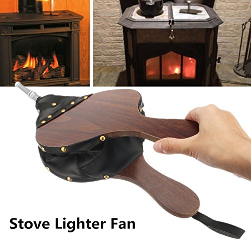 Wood Leather Fireplace Blower Pure Handmade Air Blower Air