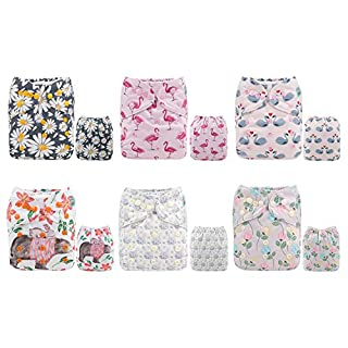 ALVABABY Color Snaps Baby Cloth Diapers/Adjustable Washable Reusable/6 Pack with 12 pcs 5-layer Charcoal Bamboo Inserts 6CM65-ZTN
