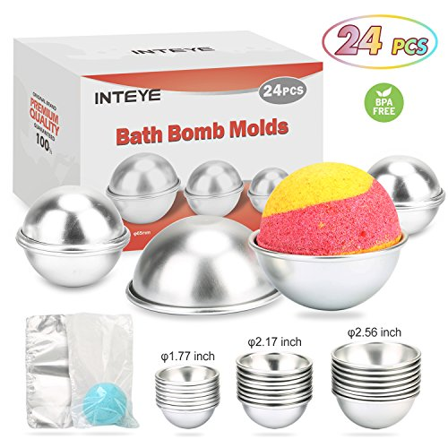 Bath Bomb Mold, 24 PCS Bath Bomb Mold Kit Including 3 Size 24 PCS Molds for Bath Bombs & 100 PCS 6 X 4.3 Inch Shrink Wrap Bags for DIY Bath Bomb Maker. by INTEYE