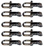 ZHW Adjustable D Shackles Buckle Sets U-Shaped Stainless Steel Shackles for Paracord, Outdoor Rope Survival (10 Pack Silver)