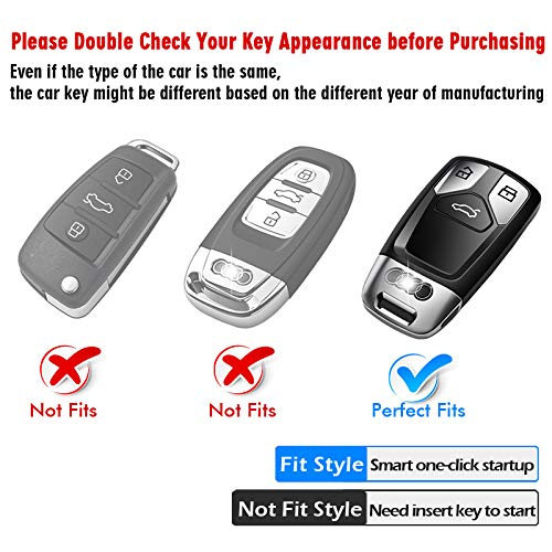 Tukellen for Audi Key Fob Cover with Keychain Silver Special Soft TPU Key Case Cover Protector Compatible with Audi A4 Q7 Q5 TT A3 A6 SQ5 SQ7 R8 S5 Smart Key