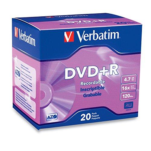 Verbatim DVD+R 4.7GB 16x AZO Recordable Media Disc - 20 Disc Slim Case