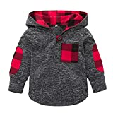 Toddler Baby Boys Girls Kids Stylish Plaid Pocket Hoodie Jackets Coat Stretchy Autumn Winter Tops Clothes (Gray, 12-18Months)
