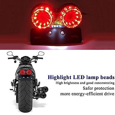 Sidaqi Universal for Harley Honda Motorcycle Tail Lights 40W 40-LED Dual Brake Light Integrated Turn Signal&Driving Light With License Plate Bracket(Black): Automotive