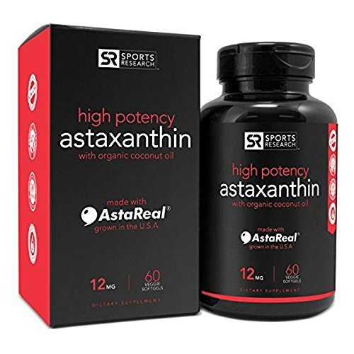 Astaxanthin (12mg) with Organic Coconut Oil, 60 Veggie Softgels by Sports Research