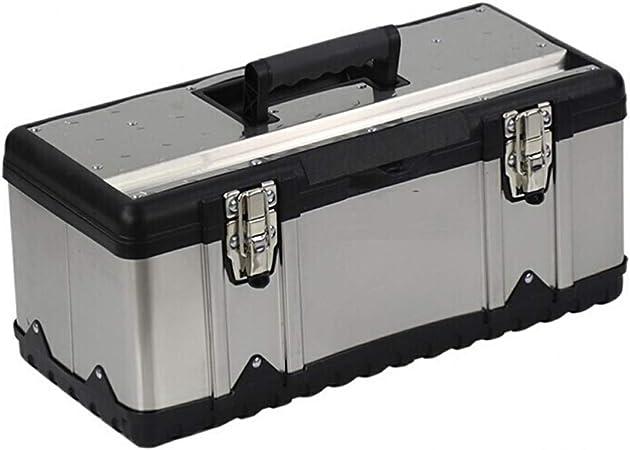 Conjunto de caja de herramientas Caja de herramientas de metal Caja de almacenamiento de la caja de herramientas de acero inoxidable grueso Almacenamiento de herramientas y bandeja extraíble Manija an: Amazon.es: Hogar