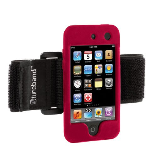 Tuneband for iPod touch 4th Generation (Model A1367, 8GB/16GB/32GB/64GB), Grantwood Technology's Armband, Silicone Skin, and Screen Protector, RED