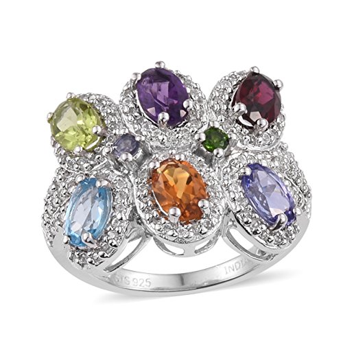 Multi Cut Cluster - Diopside Multi Gemstone Rhodium Plated Silver Fashion Ring For Women 3.83 cttw. Size 10