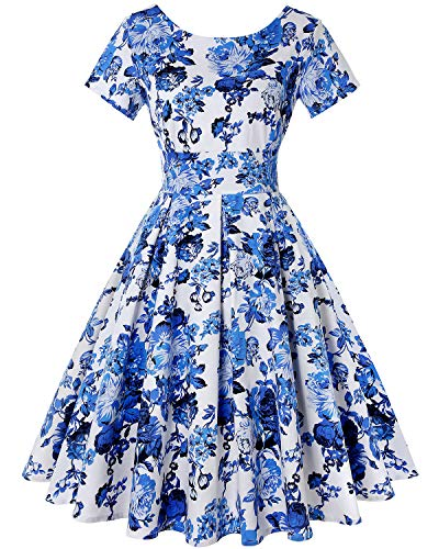 - Women Retro Dress Rockabilly Hepburn Pleated Navy Blue Swing Cocktail Vintage Dresses (Floral Blue,Size XL)