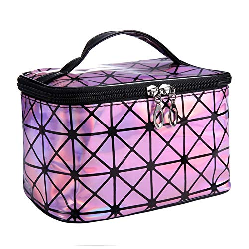 Functional Cosmetic Bag Women Fashion PU Leather Travel Make Up Necessaries Organizer Zipper Makeup Case Pouch Toiletry Kit Bag (A4)