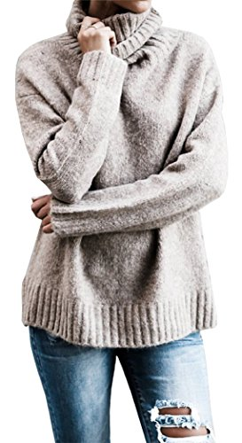 Longues Femme Pull Chaud Col Sweater Tricot Haut Manches Yeesea q1Sw6Pnfn