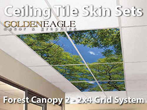 Ceiling Tile Skin - Forest Canopy 2 Kit 2x4 Grid Glue Up ...