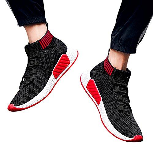 Los Suave Rojo Fondo La Parte Y Teje Que Hombres Corbata Deporte Línea Calzado De Deportivo Cruzada Con Superior Zapatillas Vuelan tqxv4Hww