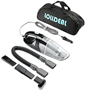 Car Vacuum,Lolldeal 12V 3200PA Suction Black Powerful Car Vacuum Cleaner Portable Hand Held Vacuum 16.4FT(5M)Power Cord with Carrying Bag(Black)
