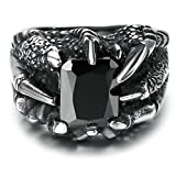 Gnzoe Men Stainless Steel Ring, Retro Square Zirconia Dragon Claws Punk Rings, Silver Black