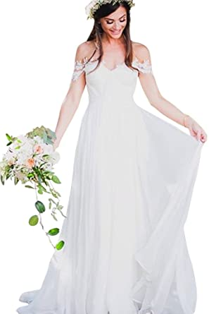 5d0278ee6f47 JoyVany Women Sexy Off Shoulder Bohemian Pleat Appliques Chiffon Beach  Wedding Dresses JV553 at Amazon Women's Clothing store: