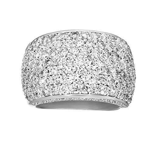 Lab Created 925S Sterling Silver Rings 4 1/8 Carat Lab Grown Diamond Ring SI1 Clarity Pave Diamond Engagement Ring…