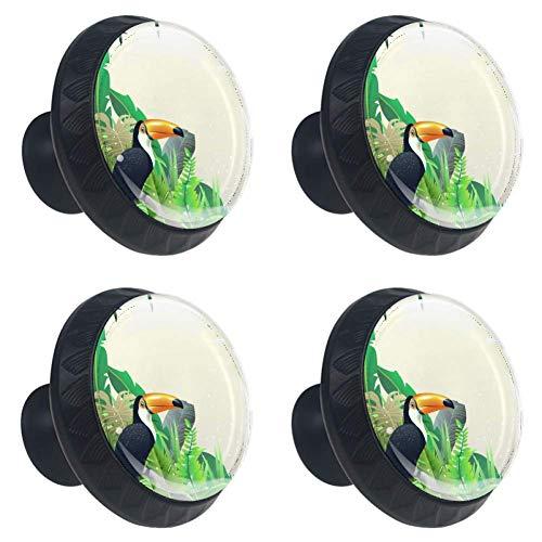 Idealiy Toucan and Butterflies Cabinet Dresser Drawer Knobs Glass Pull Handle for Cabinet Door Wardrobe Cupboard