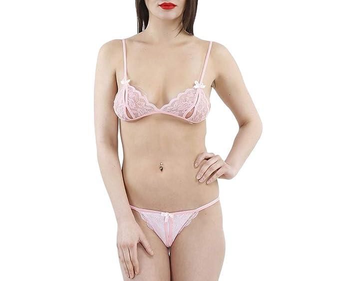 2591cc75fc Temfen Women s Net Panty and Bra Set (Pink