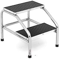 Banqueta escalerilla de altura, 2 peldaños, 26 y 38 cm de alto, estructura de acero de carbono cromada, superficie anti…