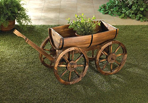 Garden Planters Wooden Wagon Wheel Wine Barrel Flower Plant Holder Box Stand Outdoor Indoor Corner Patio Decor by DecorDuke