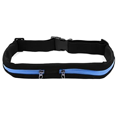 SODIAL Outdoor Sports Waterproof Bag Flexible Waist Bike Riding Belt Pocket Double Pocket for iPhone Android Phone (Green) durable service
