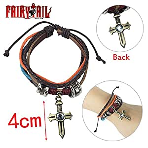Fairy Tail Gray Fullbuster Cross Leather Bracelet Cosplay