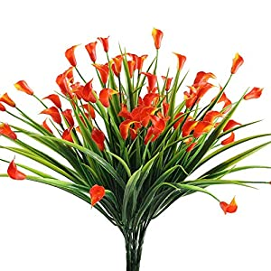 NAHUAA Fake Plants, 4PCS Artificial Calla Lily Flowers Greenery Bush Faux Plastic Wheat Grass Shrubs Table Centerpieces Arrangements Home Kitchen Office Indoor Outdoor Spring Decorations Orange 84