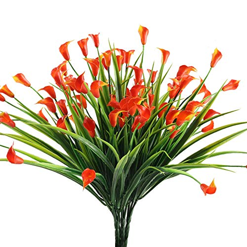 4PCS Artificial Calla Lily Flowers Greenery Bush Faux Plastic Wheat Grass Shrubs Table Centerpieces Arrangements Home Kitchen Office Indoor Outdoor Spring Decorations Orange ()