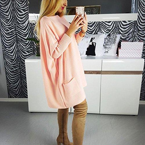 Angelof Orange À Courte Chic Manche Col Longue Ample Bateau Uni Femme Blouse Robe Pull Maille Poches En rwrgFq