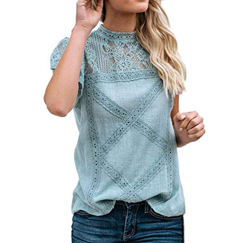 (Shirt Womens Lace Flare Ruffles Short Sleeve Cute Floral Top by Gergeos(Green,L))