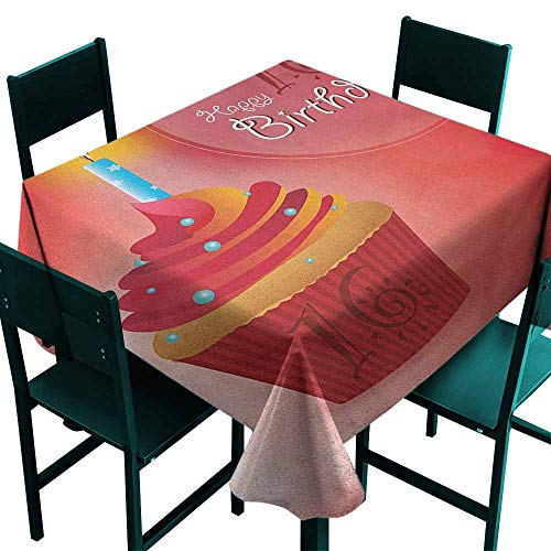 Butterfly Meadow Candlestick - Warm Family 16th Birthday Elegance Engineered Tablecloth Little Cupcake with Candlestick Greeting Message Romantic Print Indoor Outdoor Camping Picnic W54 x L54 Red Orange and Blue