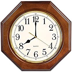 Wall Clock Non Ticking Battery Operated European Vintage Decorative Silent Quartz Living Room Bedroom Retro Solid Wood Octagon Clocks