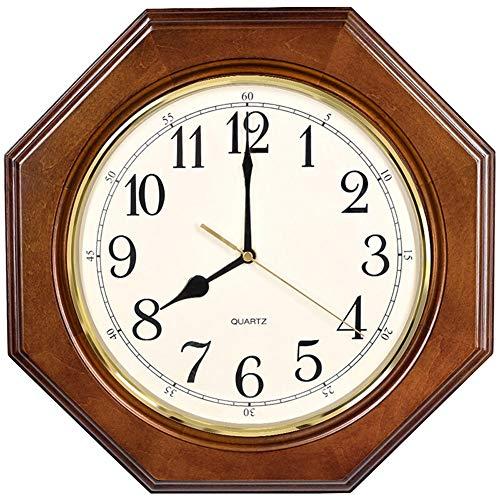 Wall Clock Non Ticking Battery Operated European Vintage Decorative Silent Quartz Living Room Bedroom Retro Solid Wood Octagon ()