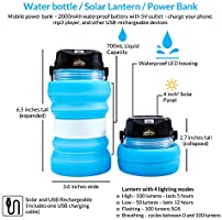 Clouds Rest BrightBottle 3-in-1 Collapsible Solar Water Bottle Lantern with Power Bank Abilene Trading Co Replace Your Water Bottle//Lantern and Charge Your Phone with This Space Saving Lantern