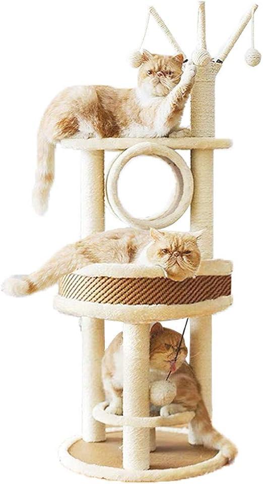 Árbol para gatos de varios niveles, torre de ratán resistente para actividades con nido de gato grande, túnel de rama, árbol de gato, rascador para gatos grandes y gatitos: Amazon.es: Productos para