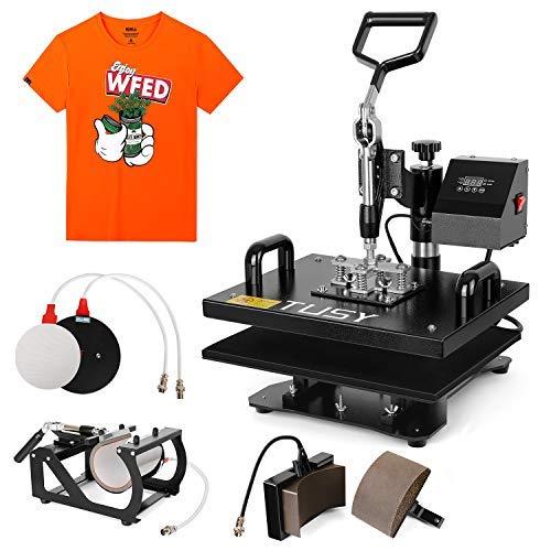 TUSY 5 in 1 Heat Press MachineIndustrial Multifunction Professional Digital TransferSublimationHeat Press Machine for Hat/Cap/Mug/Plate/T-Shirt