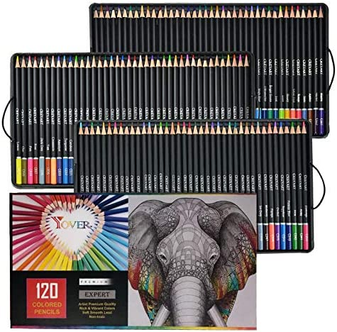 120 Premium Art Colored Pencil SetDrawing and Coloring Pencil for Sketching Shading & Coloring BooksArtists Soft Series Lead PencilVibrant Colors Ideal for ArtistsAdults and Kids