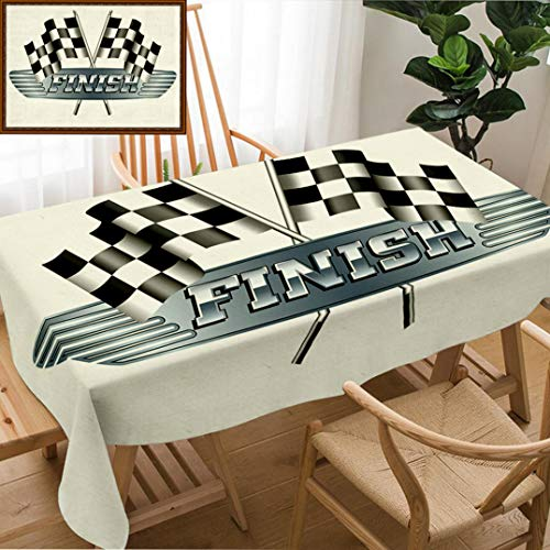 """Unique Custom Design Cotton and Linen Blend Tablecloth Checkered Chequered Flags Motor Racing Finish Raster VersionTablecovers for Rectangle Tables, Small Size 48"""" x 24"""""""