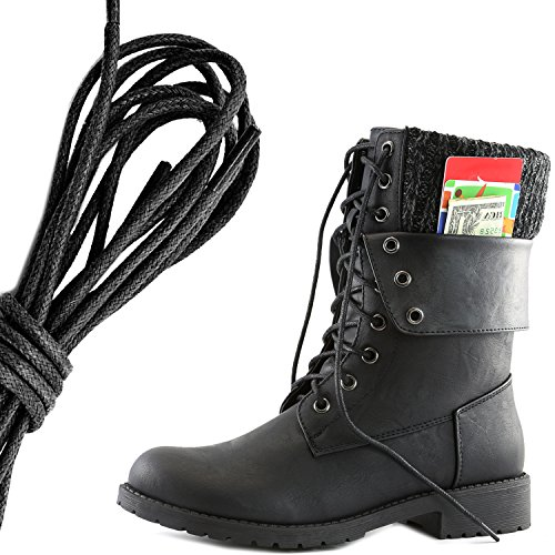 DailyShoes Womens Military Lace Up Buckle Combat Boots Ankle Mid Calf Fold-Down Exclusive Credit Card Pocket, Black Black Pu