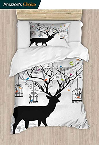 Antlers Bedspread Set Queen Size, Deer with Colorful Birds and Birdcages Silhouette Ornament Vintage Style Print, Print, Decorative Quilted 2 Piece Coverlet Set with 1 Pillow Shams,59 W x 78 L Inches