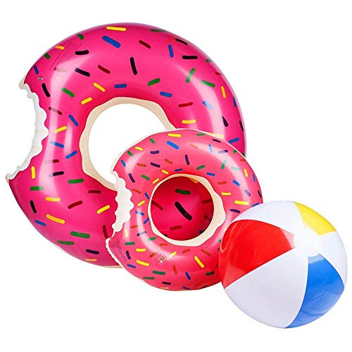 Ado Glo Donut Pool Floats, Giant Strawberry Swim Rings for Beach and Pool, 2 Pack with a Beach Ball]()