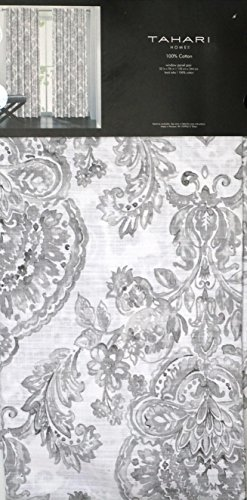 Tahari Window Panels Curtains 52 by 96-inch Set of 2 Damask Medallions in Shades of Gray on White 52 Inches by 96 Inches