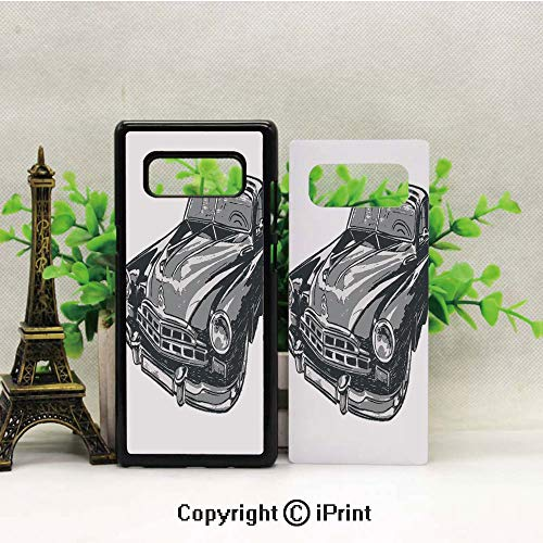 (Cell Phone Case Compatible Samsung Galaxy Note 8,Hand Drawn Vintage Vehicle with Detailed Front Part Hood Lamps Rear View Mirror Heavy Duty Protection Shockproof Slim Fit Case Cover for Samsung)