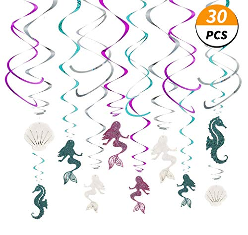 30 Ct Mermaid Hanging Swirl Decorations - Under the Sea Party Supplies - Ocean Theme Ceiling Streamers - Birthday Favors for Kids - Mermaid, Seahorse, Shell Glitter Decor by Kristin Paradise