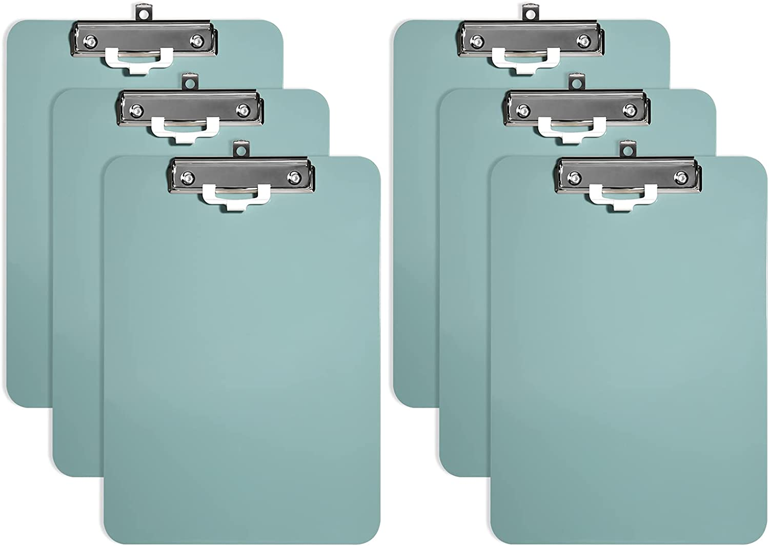 Hongri Plastic Clipboards Set of 6, Green Clipboard Standard A4 Letter Size Clipboards for Nurses, Students and Office, Clipboard with Pen Holder and Low Profile Clip, Size 12.5 x 9 Inch, (Green)