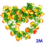 Artificial Rose Bud Garland Silk Flower Vine for Home Wedding Garden Decoration