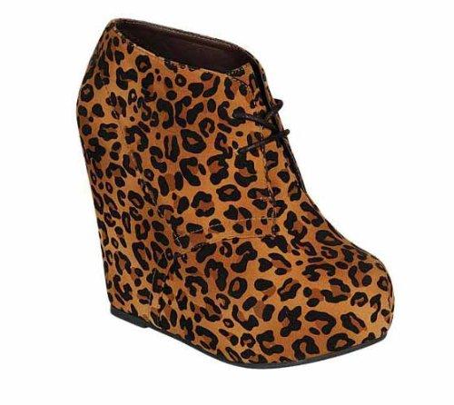 Breckelles Jenny-13 Mujeres Lace Up Collar Plataforma Cuña Botines Botines, Color: Leopardo, Tamaño: 7.5